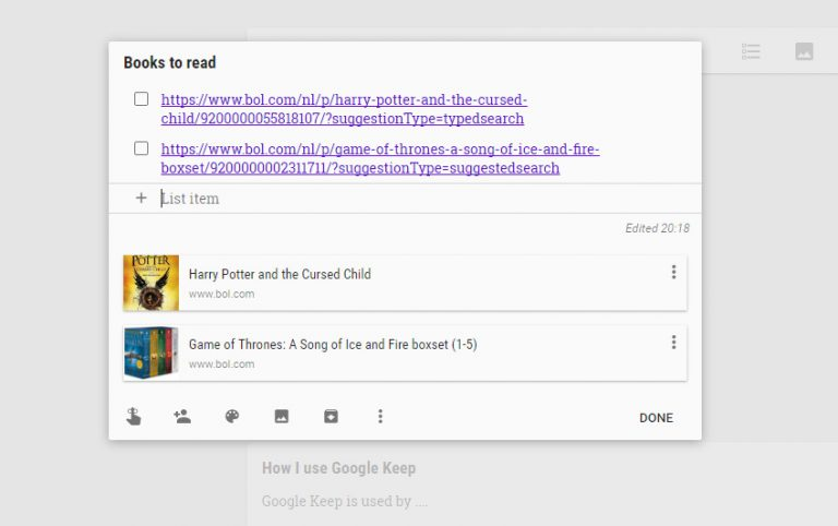 Google Keep shows all relevant information from your stored website links