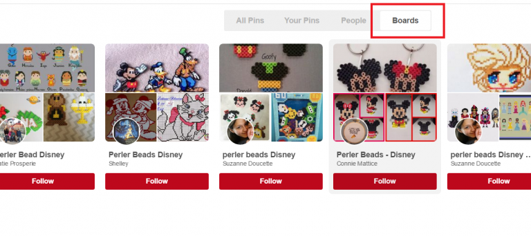Click on boards to find Pinterest boards reletated to your search term