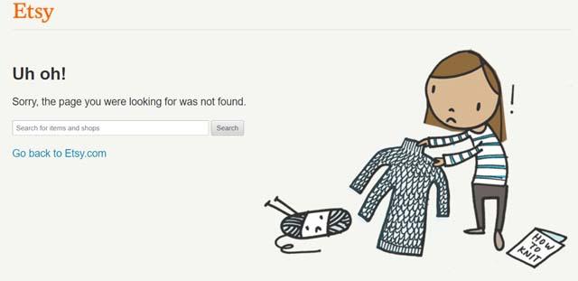 Etsy fun 404 page