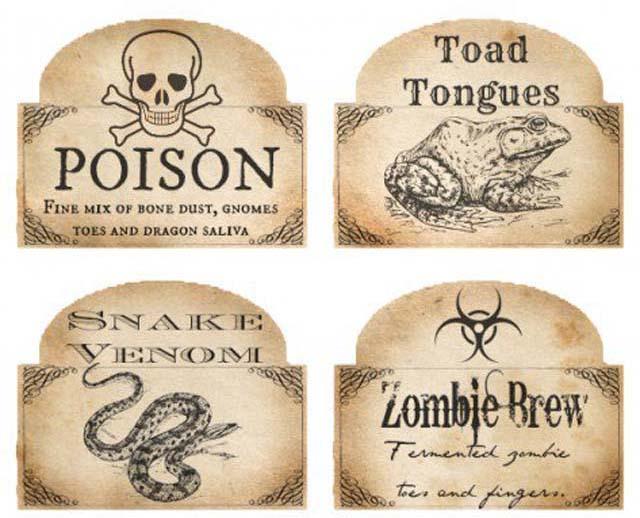 Gratis halloween gif labels voor halloween versiering