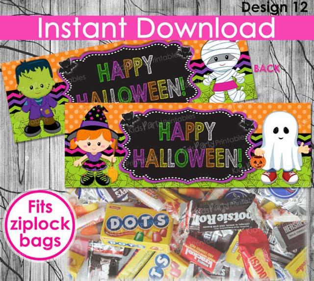 Halloween zaksluiter, printable halloween plaatjes, snoepzak