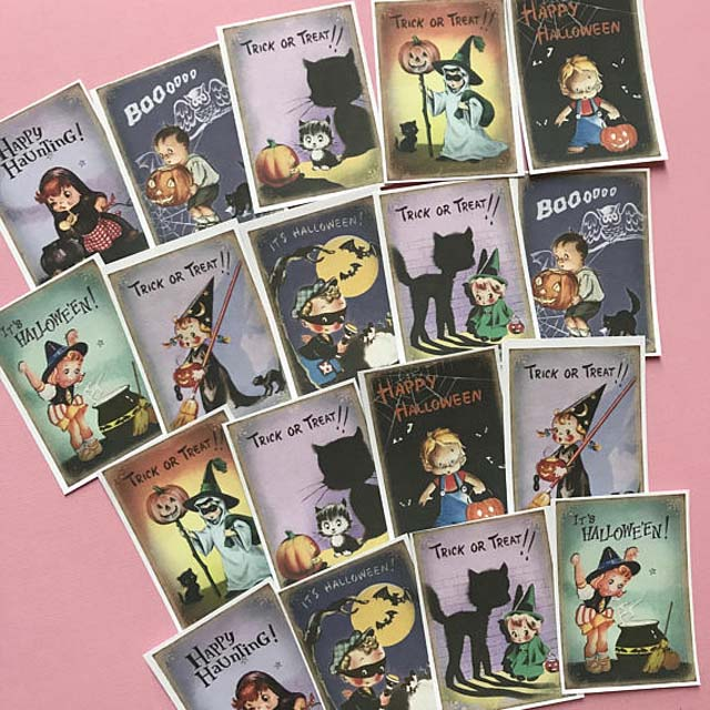 Vintage Halloween Stickers - Set of 18 - Handmade Stickers, Vintage Style, Vintage Halloween, Cute Witches, Planner Stickers, Cute Halloween