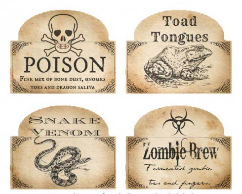 free halloween venom labels