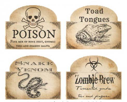 free halloween venom labels