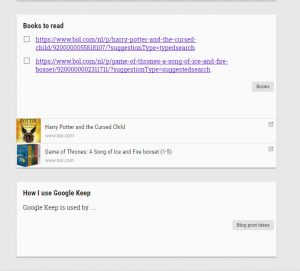 Google Keep notes and to-do lists