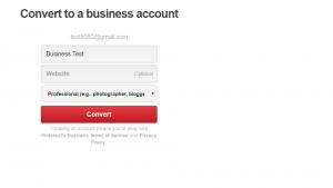 Convert to a Pinterest business account